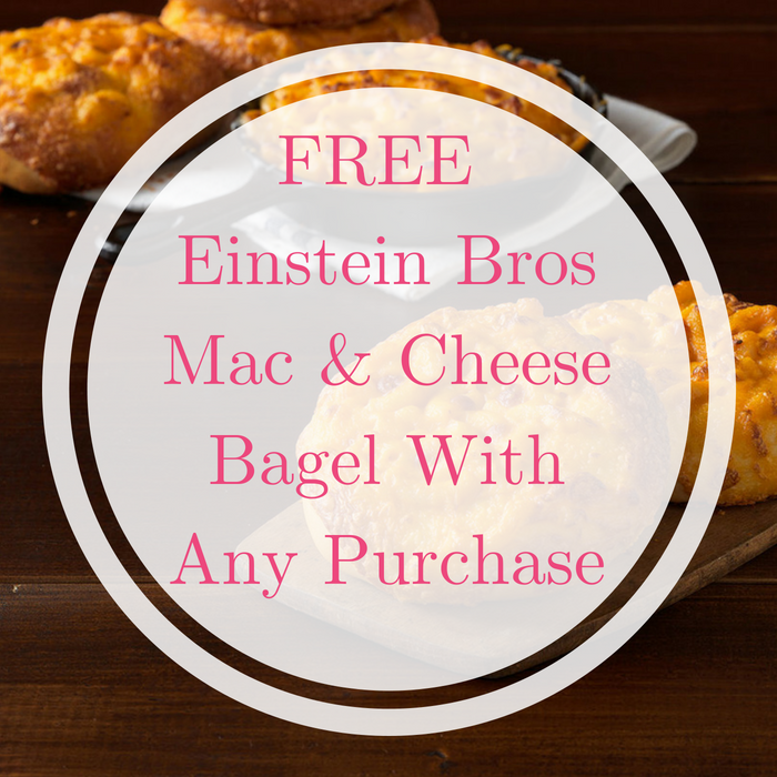 FREE Einstein Bros Mac & Cheese Bagel With Any Purchase!
