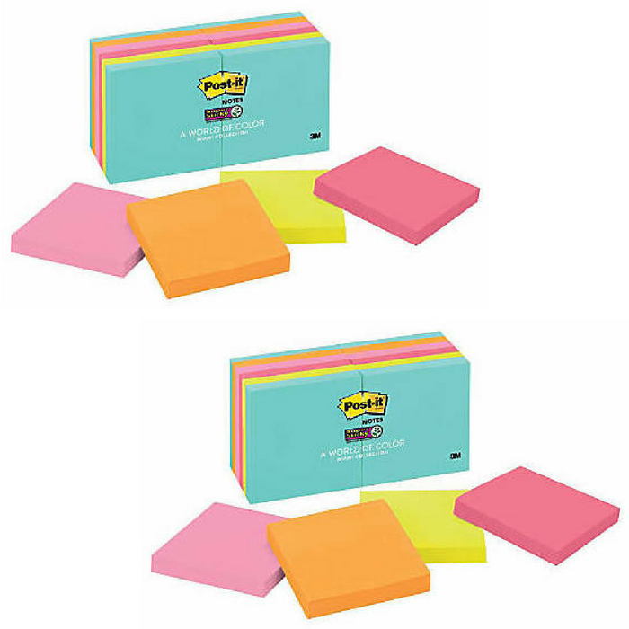 "Post it® Super Sticky Notes, 3"" x 3"", Miami, Pack Of 12 Pads"