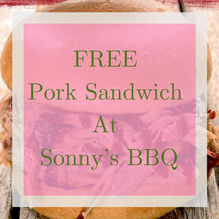 FREE Pork Sandwich At Sonny's BBQ!