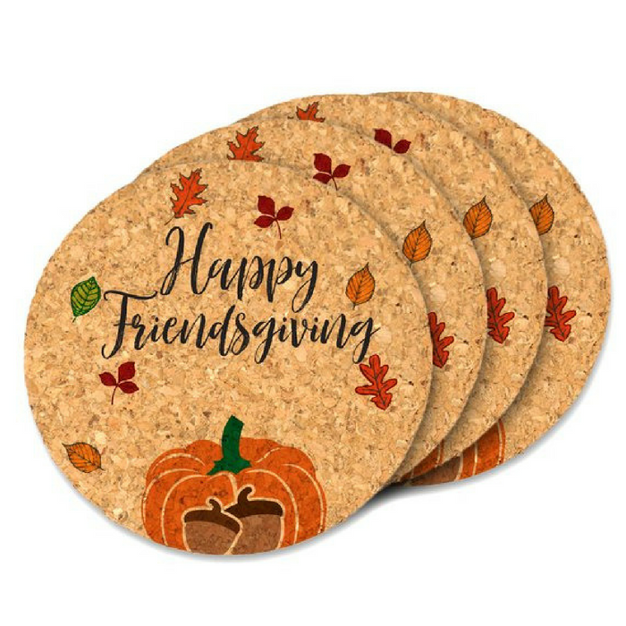 Happy Friendsgiving Round Cork Coasters by BestDayEverSpot