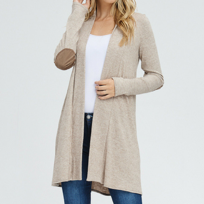Dark Oatmeal Elbow Patch Open Cardigan