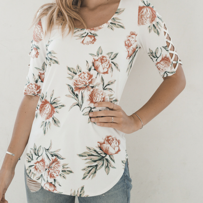 Ivory & Blush Floral Crisscross-Accent Three-Quarter Sleeve Top