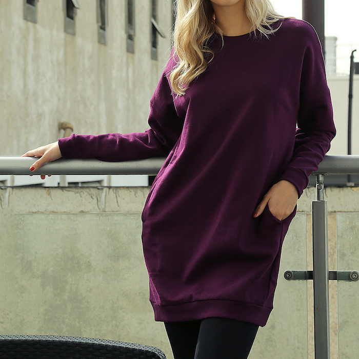 Dark Plum Crewneck Sweatshirt Tunic