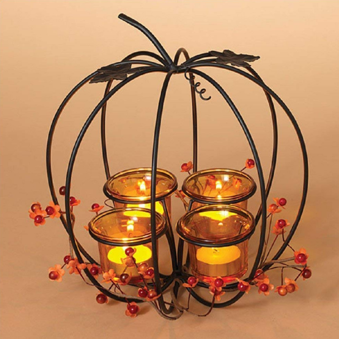 Metal Pumpkin Tealight Candleholder