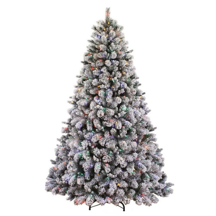 7.5-Feet Pre-Lit Albany Pine Flocked Artificial Christmas Tree With 600 Multi-Function Color Changing LED Lights