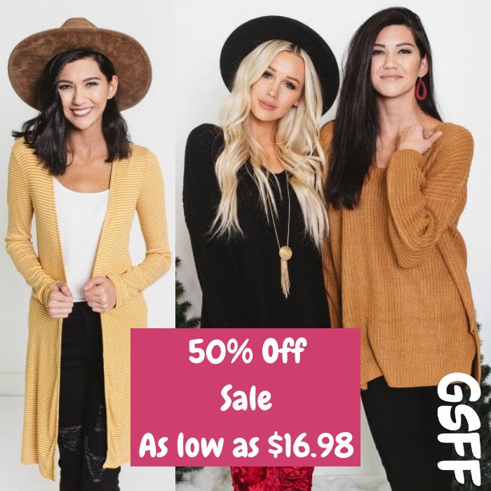 50% Off Sale Sweaters & Tunics