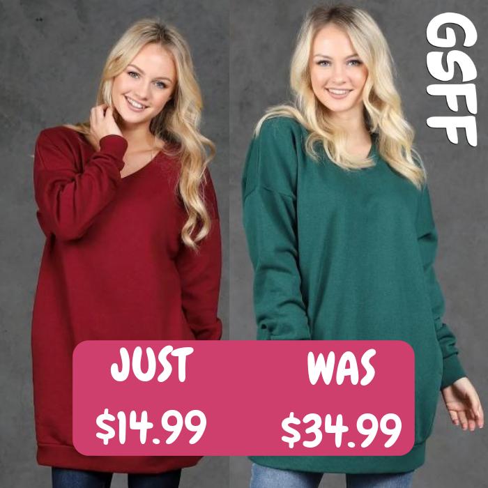 Oversized V-Neck Sweatshirt