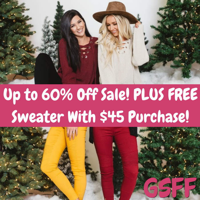 Up To 60% Off Sale! PLUS FREE Sweater With $45 Purchase! Shipped!