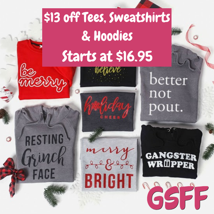$13 Off Tees, Sweatshirts & Hoodies