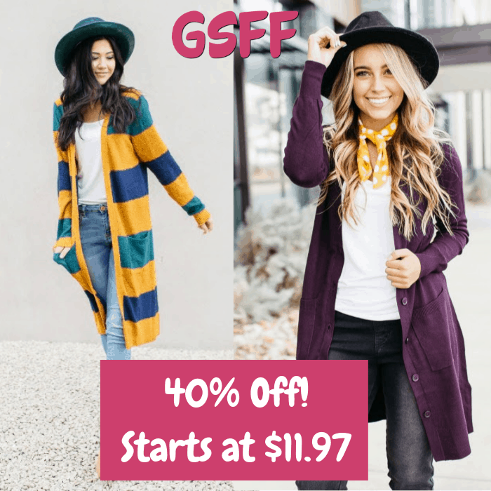 40% Off Cardigans! PLUS FREE Shipping!