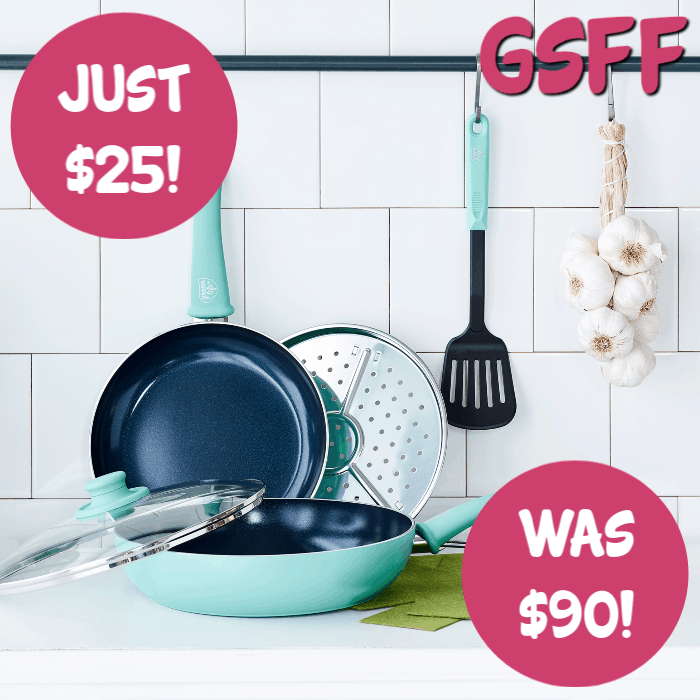 GreenLife Diamond 8-Piece Ceramic Non-Stick Cookware Set Just $25! Down From $90!