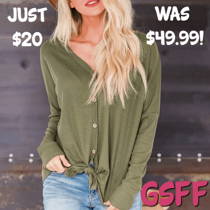 Knit Button Down Top Just $20! Down From $50! PLUS FREE Shipping!
