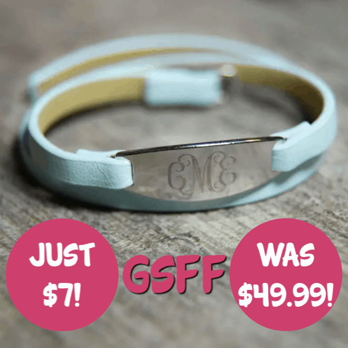 Personalised Oval Leather Bracelet Just $7! Down From $50! PLUS FREE Shipping!