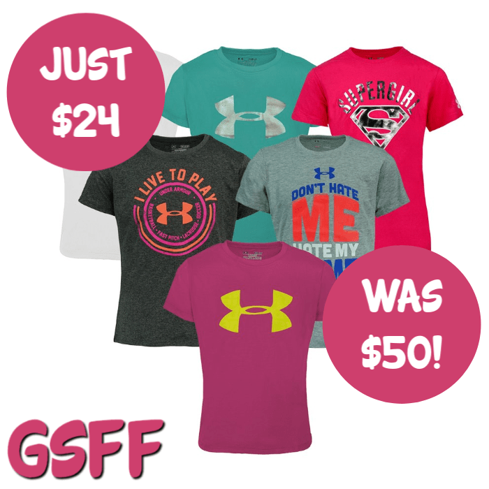 Under Armour 3-Pack Girls' Mystery T-Shirt Just $24! Down From $50! FREE Shipping!