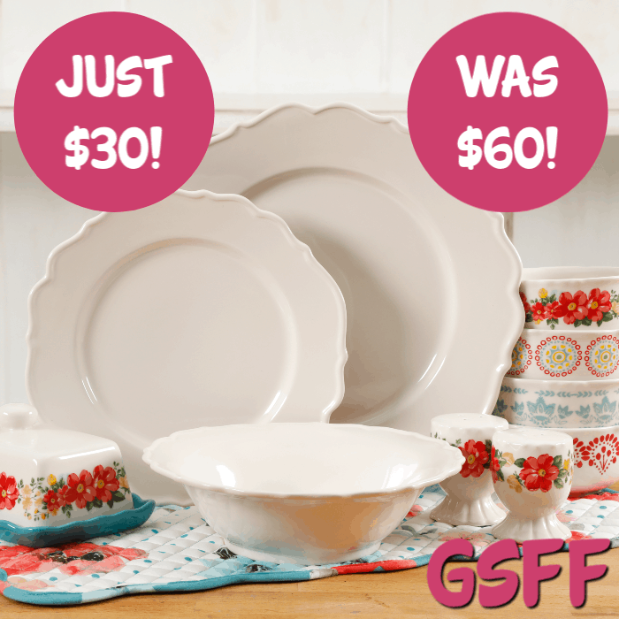 The Pioneer Woman 20-Piece Linen Dinnerware Set Just $30! Down From $60! FREE Shipping!