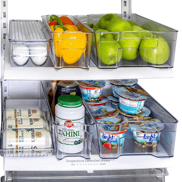 Kitchen Shaq 6-Piece Refrigerator and Freezer Organizer Bins with Handles