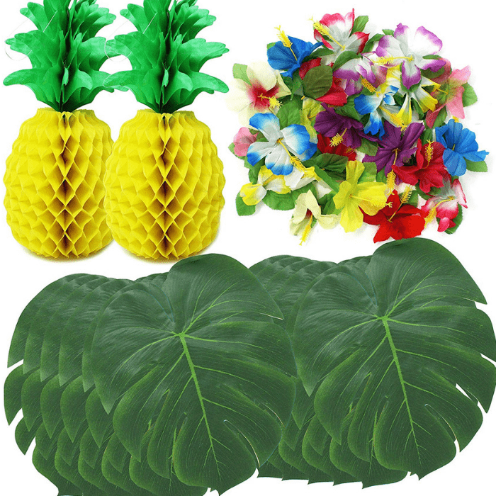 JOYIN 38-Piece Luau Hawaiian Tropical Jungle Party Decoration Set