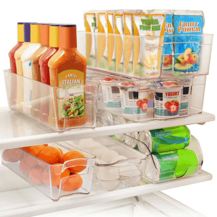 Greenco 6-Piece Refrigerator and Freezer Stackable Storage Organizer Bins with Handles