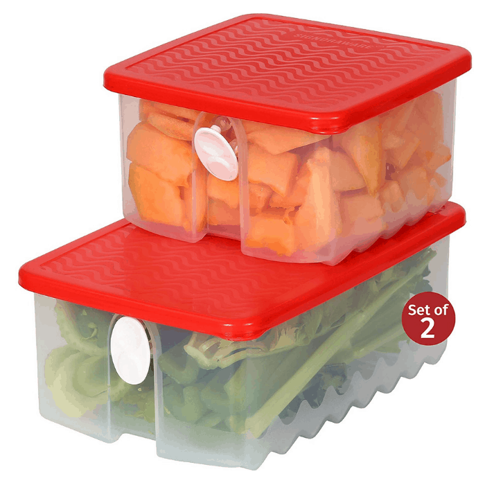 Signoraware Fresh Fruit and Vegetable Food Keeper Saver Storage Container with Air Vented Lids
