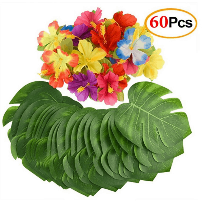 Mandy's 60-Piece Palm Leaves And Hibiscus Flowers Decoration Set