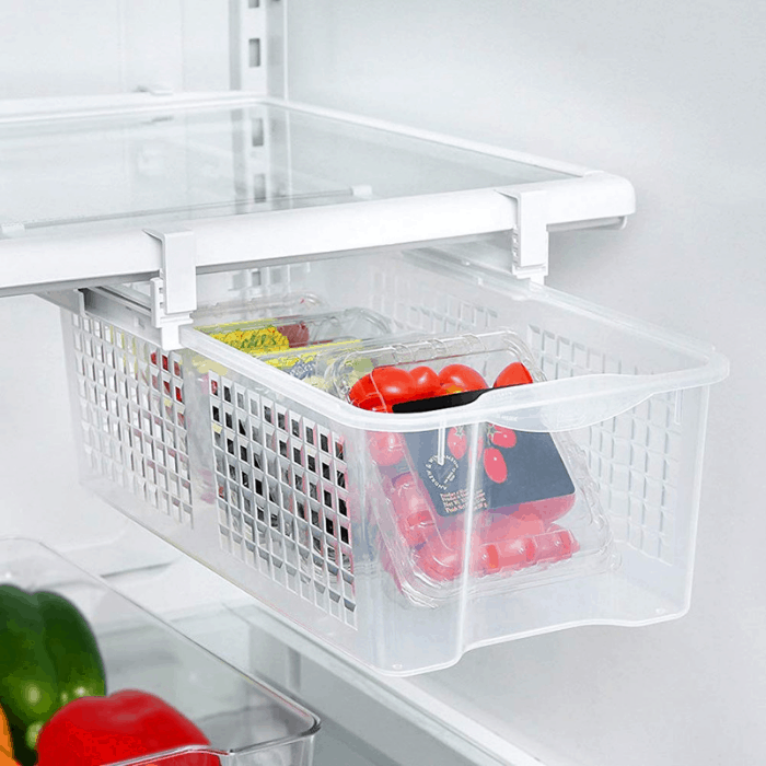 Waqia Home Fridge Storage Sliding Drawer