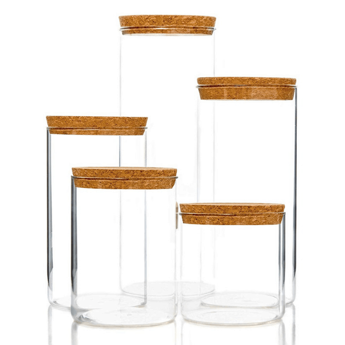 5-Piece Kitchen Storage Containers With Cork Lids