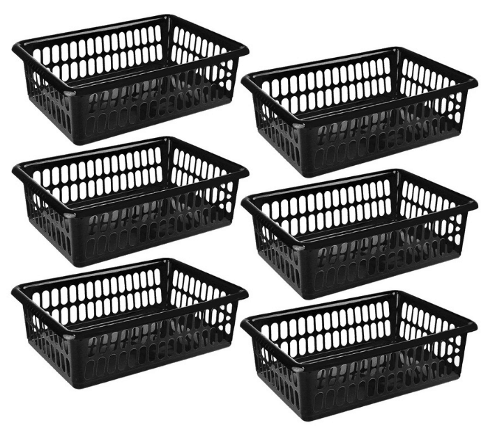 Zilpoo 6-Pack Plastic Storage Organizing Basket