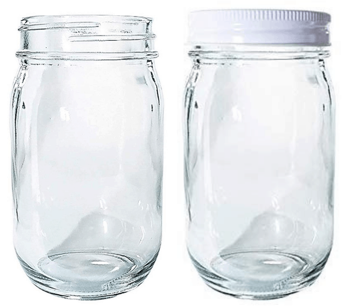 12-Pack Old-Fashioned Clear Glass With Metal Lid