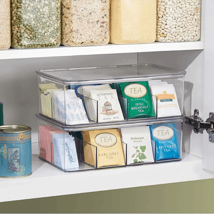 mDesign Stackable Plastic Tea Bag Organizer