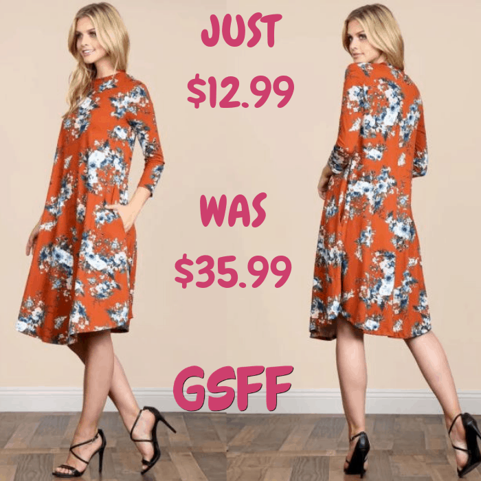 Floral Pocket Dress Just $12.99! Down From $36! Shipped!