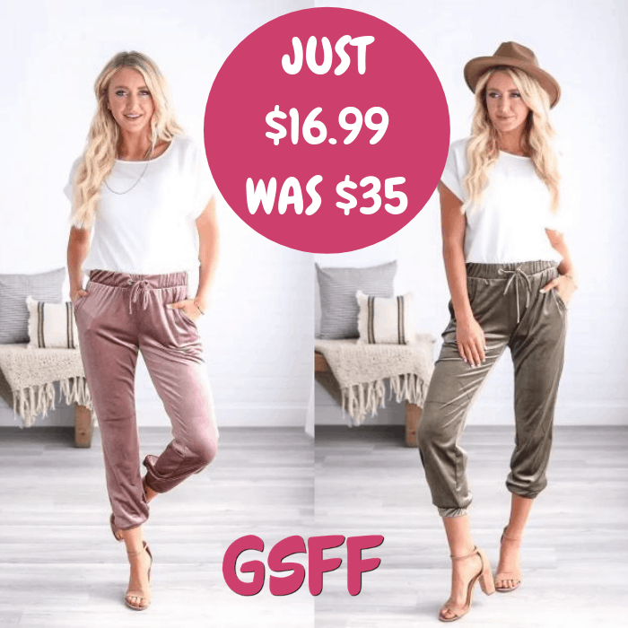 Luxe Velvet Jogger Just $16.99! Down From $35! Shipped!