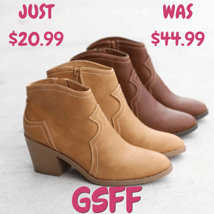 Western Ankle Booties Just $20.99! Down From $45! Shipped!