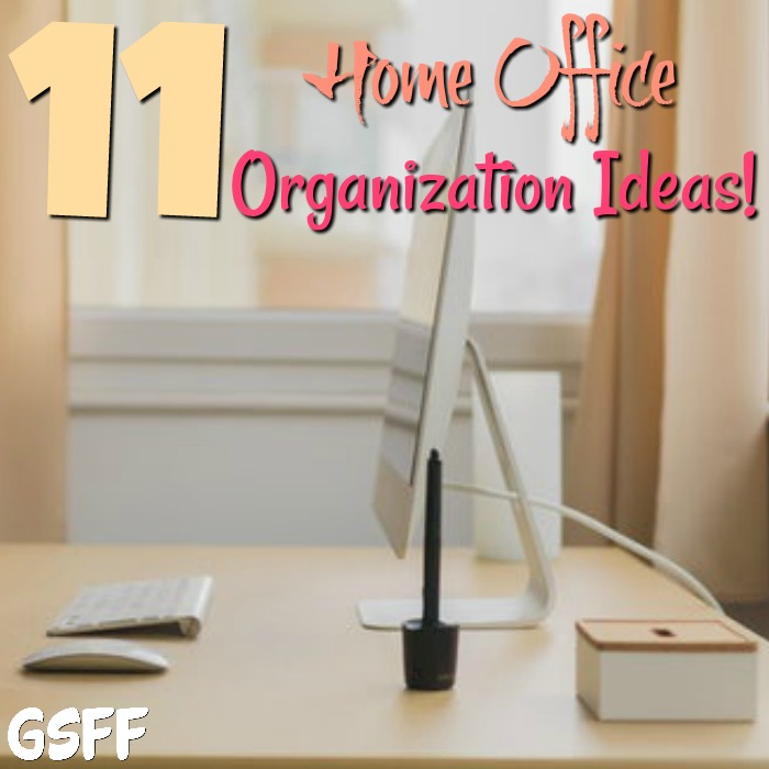 These 11 Home Office Organization Ideas will help tame your out of control home office! An organized work space relieves stress & improves productivity!