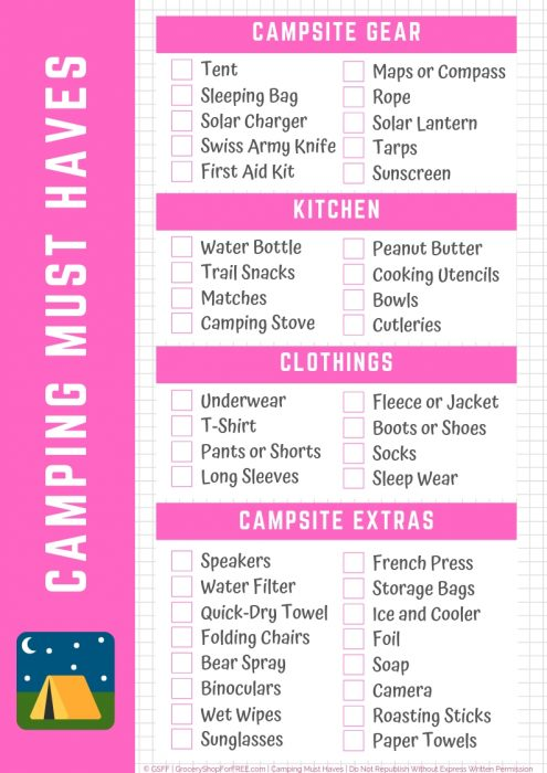 Printable Camping Supplies List