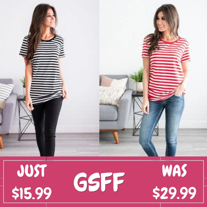 Striped Boyfriend Tee Just $15.99! Down From $30! Shipped!