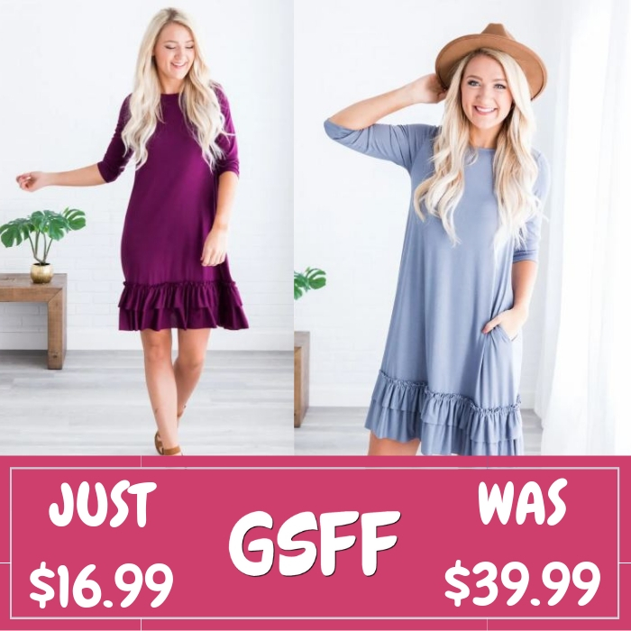 Ruffle Bottom Dress Just $16.99! Down From $40! Shipped!