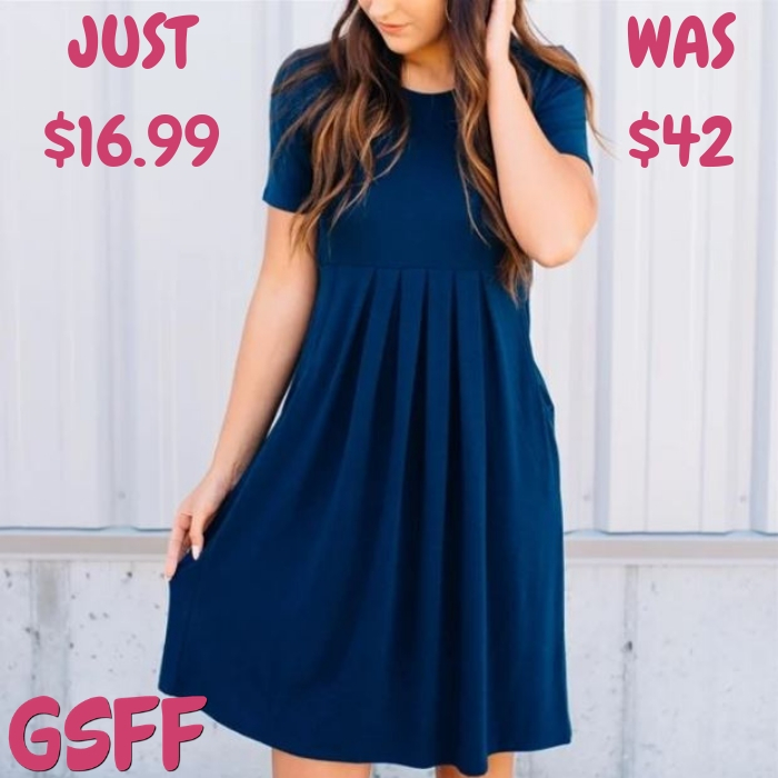 Pleat Pocket Dress Just $16.99! Down From $42!