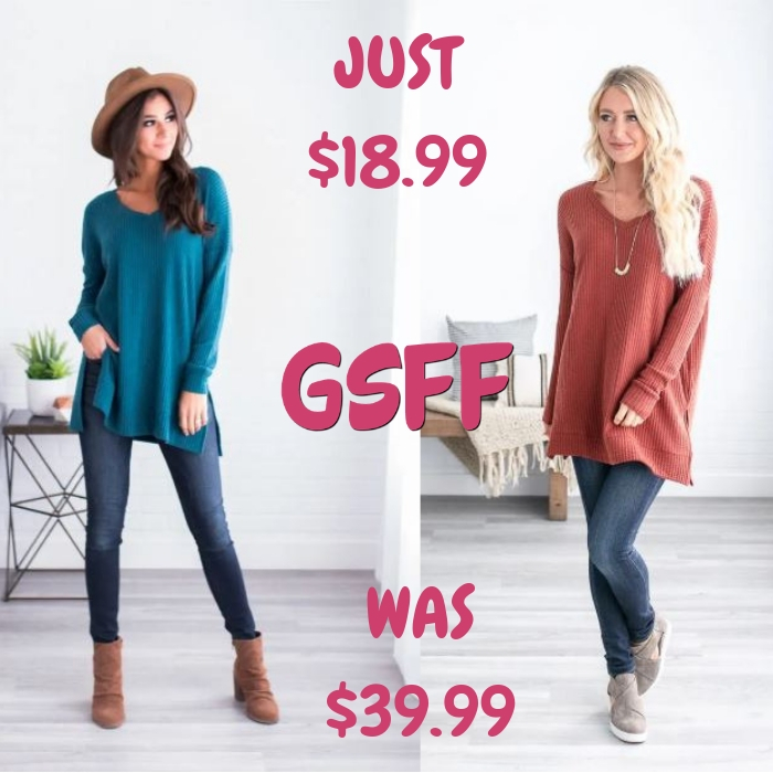 V-Neck Waffle Sweater Just $18.99! Down From $40! Shipped!