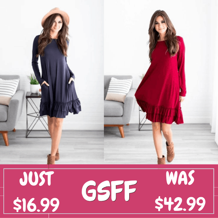 Ruffle Swing Dress Just $16.99! Down From $43! Shipped!