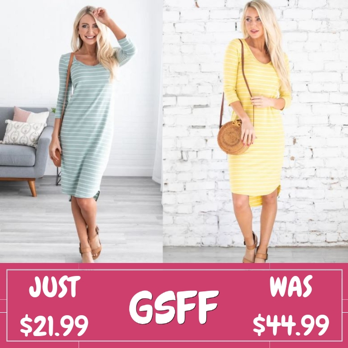 Maysie Striped Midi Just $21.99! Down From $45! Shipped!