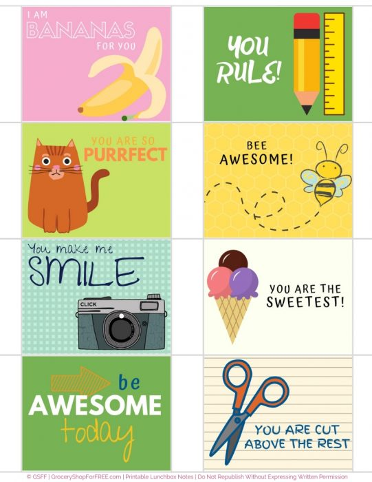 Printable Lunch Box Notes For Your Kids