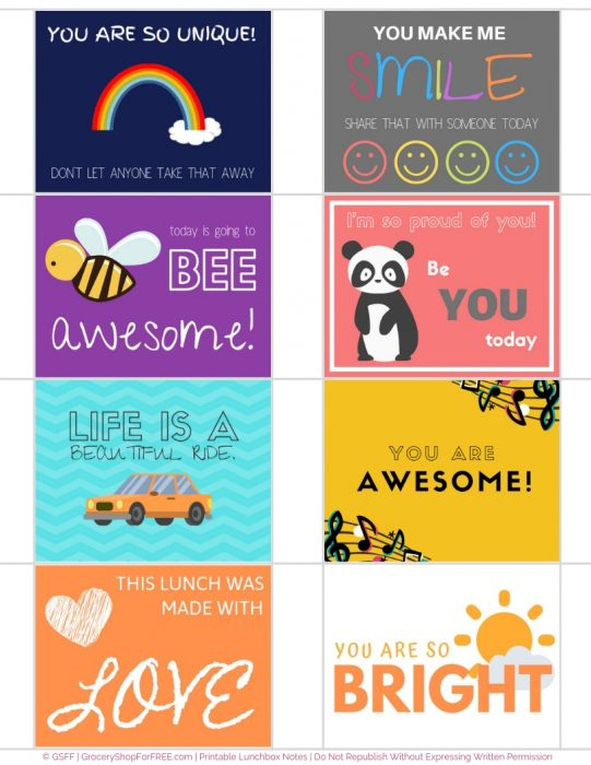 picture about Free Printable Lunchbox Notes identified as Lunch Box Notes For Little ones! Free of charge Printable Notes!