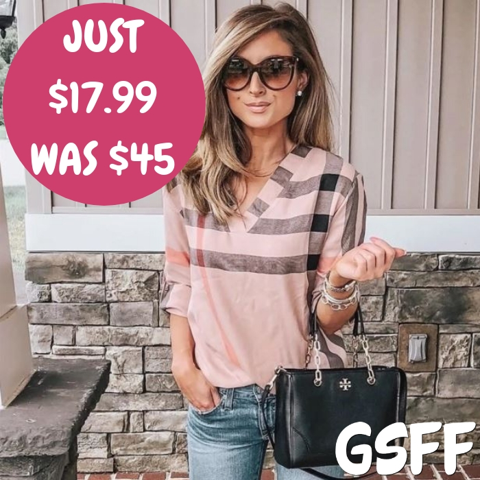 Polished Plaid Blouse Just $17.99! Down From 45!