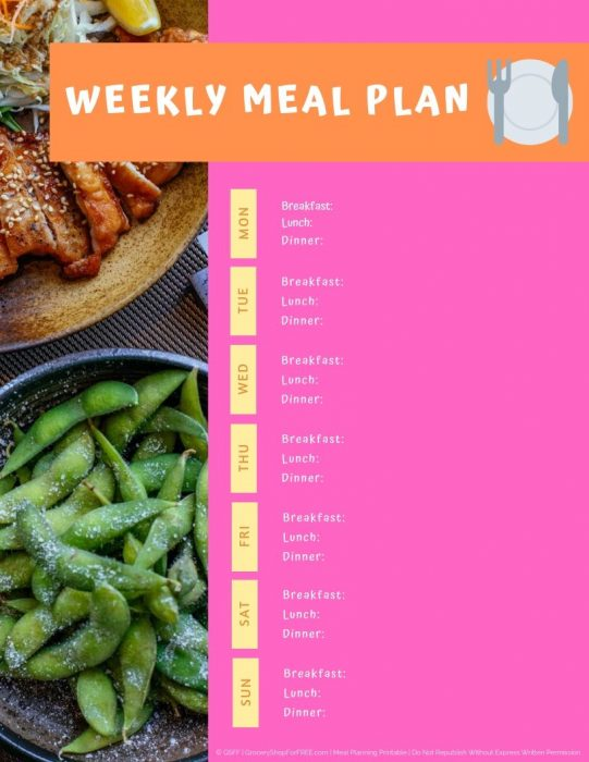 Meal Plan Printable