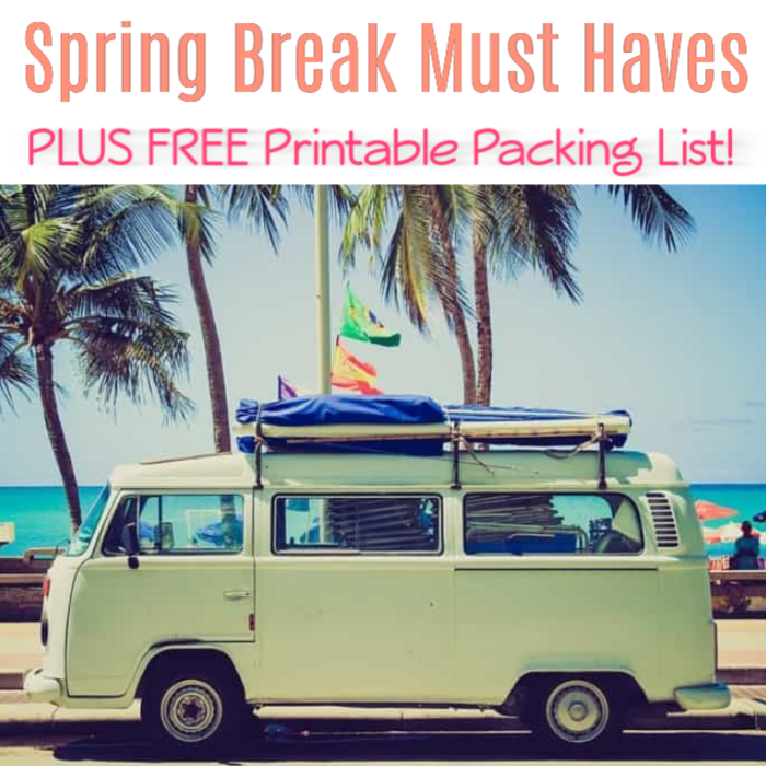 Getting ready for Spring Break? Don't forget anything that might ruin your vacation! Check out these Spring Break Must Haves PLUS FREE Printable Packing List!