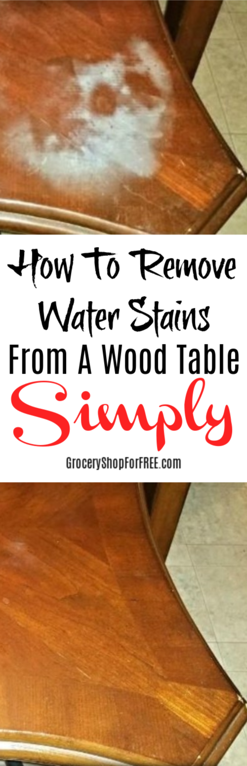 Do you have wood furniture with a water stain? Did you know you can fix it in a few minutes with what you have at home right now? Click through to get the details!
