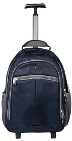"Volkano Orthopaedic Trolley Backpack With 15.6"" Laptop Compartment, Navy/Gray  - $34.99"