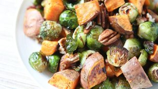 Roasted Sweet Potatoes and Brussels Sprouts with Pecans