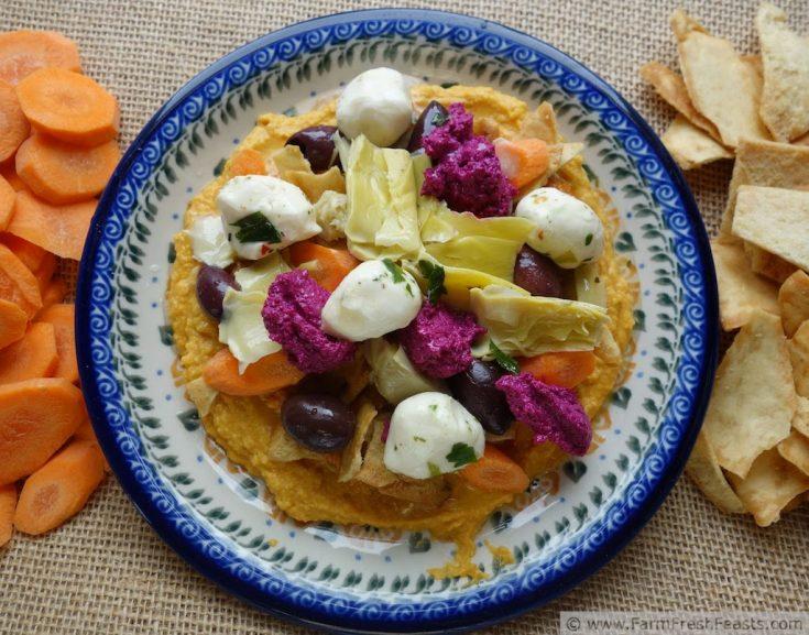 Fall Color Vegetable Appetizers {Sriracha Pumpkin Hummus}