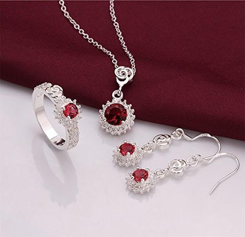 Red Rhinestone Jewelery Set